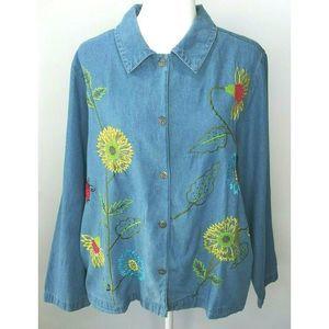 Vintage Serengeti Catalog Denim Embroidered Shirt